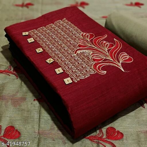 Pure Cotton Embroidered Salwar Suit & Dress  Material  (Red )