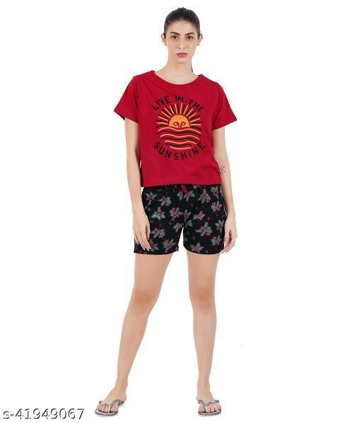 Sevnix Women Printed Blue Top & Shorts Set NIght Suit