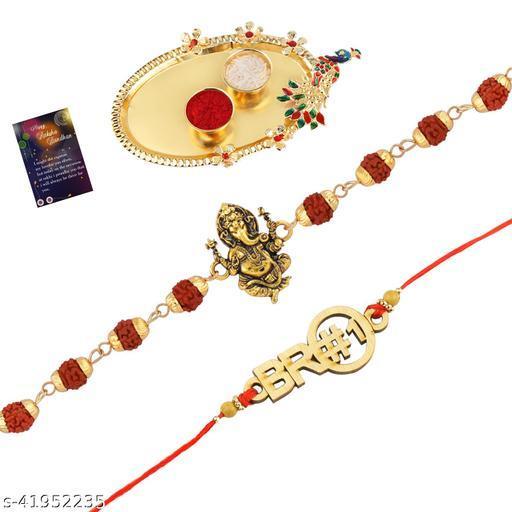 "Rakhi Rudraksh ""Ganeshji""With Stylish"" BRO""  With Roli Chawal And Greeting Card 1 Kankawati Pooja Thali"