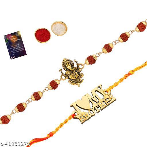 "Rakhi  Rudraksh ""Ganeshji""With   Stylish"" I LOVE MY BROTHER""   With Roli Chawal And  Greeting Card"