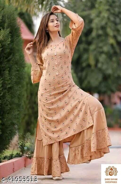 PITCH COLOR EMBROIDERY MIRROR KURTI WITH PLAZZO