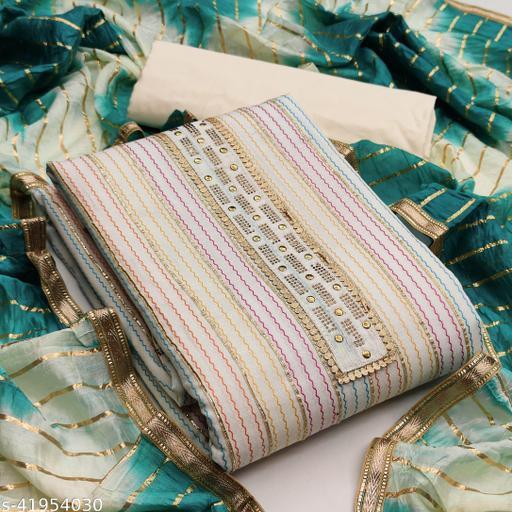 Women'S Grey Unstitched Hand Work Cotton Dress Material
