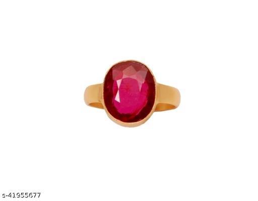 Certified cultured Ruby (Manik) 7.25 Ratti ADJUSTABLE Panchdhatu Ring forWomen And Girls (JSB)