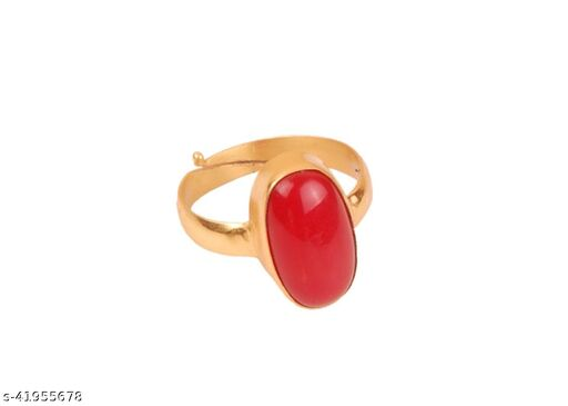 Certified cultured Coral (Moonga) 5.25 Ratti ADJUSTABLE Panchdhatu Ring forWomen And Girls (JSB)