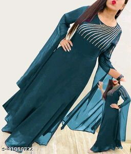 New Rama Flared Georgette Fabric Full Stitched Gown For Women