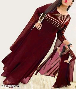New Maroon Flared Georgette Fabric Full Stitched Gown For Women