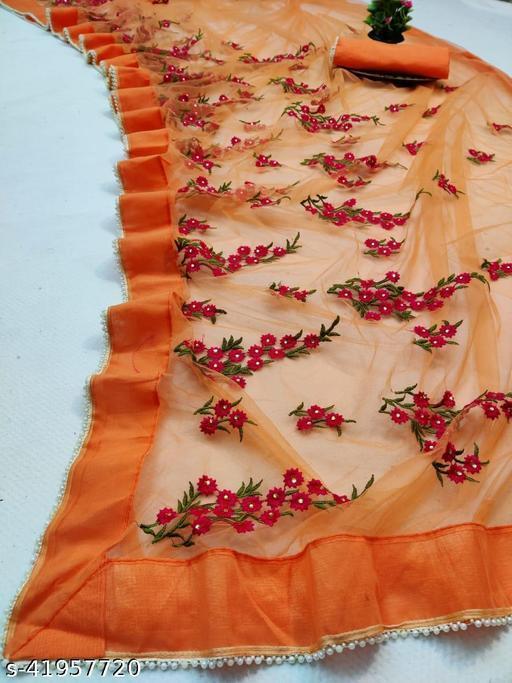 NET SAREE embroidery moti lace