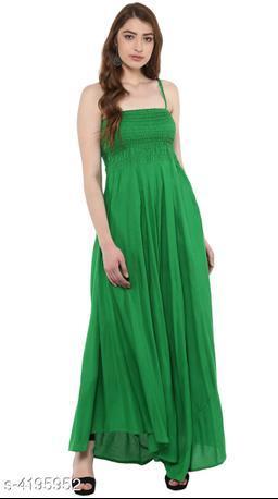 Women's Solid Green Rayon Dress