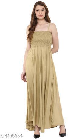 Women's Solid Beige Rayon Dress