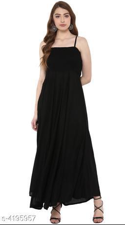 Women's Solid Black Rayon Dress