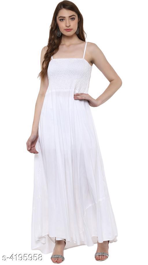 Women's Solid White Rayon Dress