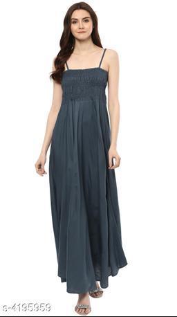 Women's Solid Grey Rayon Dress