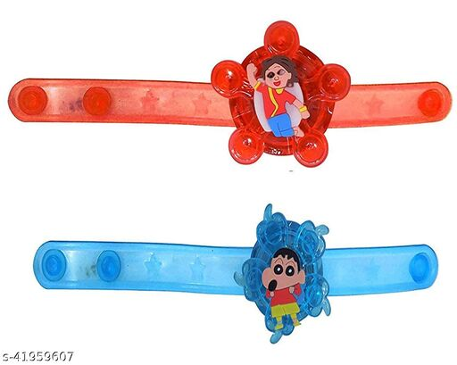 JARS Collections Set of 2 LED Band Rakhi For Kids Brother With Roli Chawal Pack(Assorted Designs & Colors)