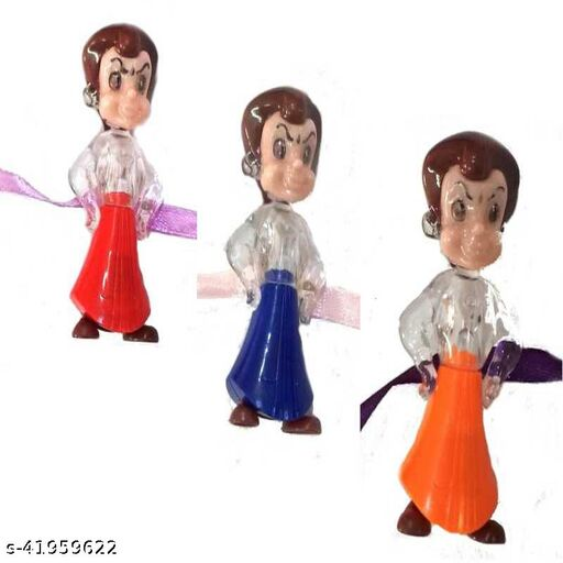 JARS Collections Set of 3 LED toy Rakhi For Kids Brother With Roli Chawal Pack(Assorted Designs & Colors)