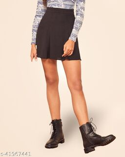 ADDYVERO Solid Women Flared Black Skirt