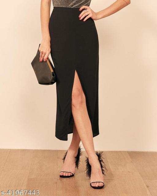 ADDYVERO Solid Women Pencil Black Skirt