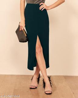 ADDYVERO Solid Women Pencil Green Skirt