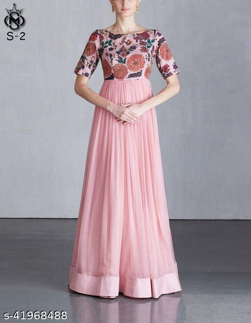 Arresting pink coloured beautifull embroided floor touch koela chiffon dress