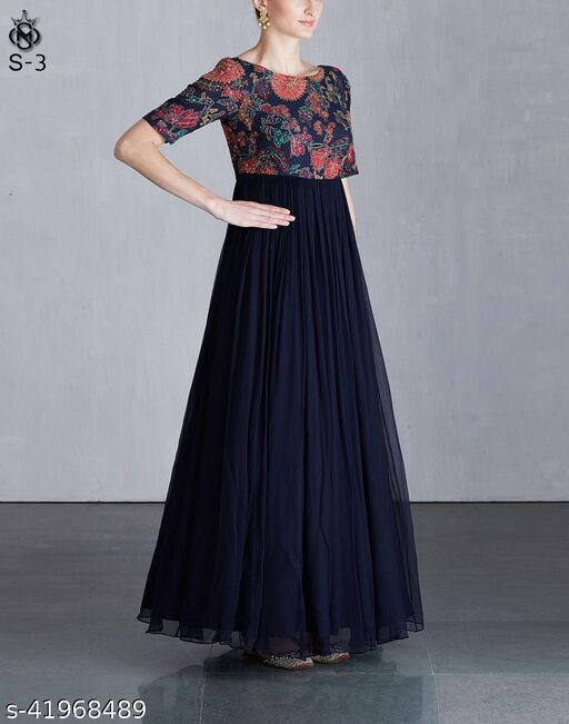 Arresting navy blue coloured beautifull embroided floor touch koela chiffon dress