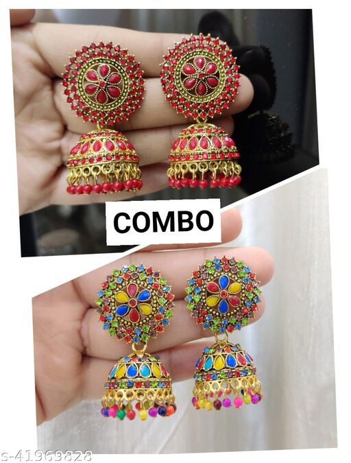 Combo Set Of 2 Pcs Stylish & Party Wear Jhumkas Latest Collection Ani earrings for Girls and Women.(Multicolor & Red Color )
