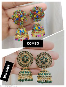 Combo Set Of 2 Pcs Stylish & Party Wear Jhumkas Latest Collection Ani earrings for Girls and Women.(Multicolor & Green Color )
