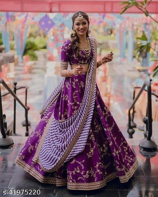 Women's Purple Taffeta Silk Semi-Stitched Lehenga choli With Duptta