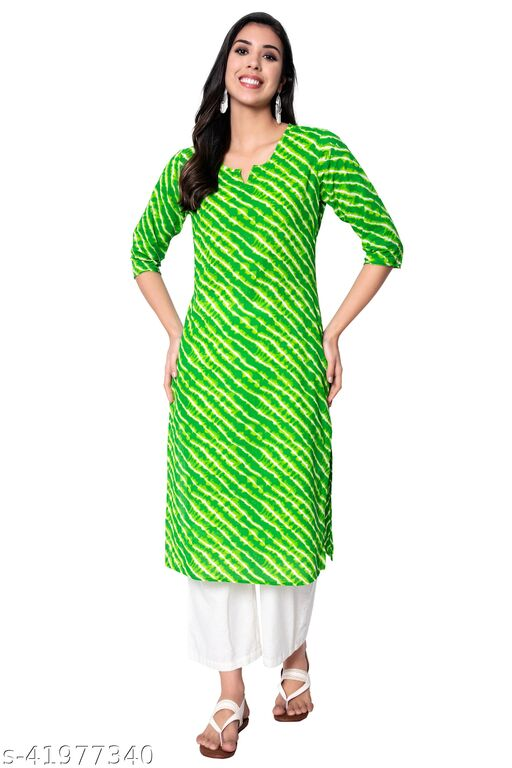 GMI Women Lahriya Printed Cotton Slub Straight Long Kurti