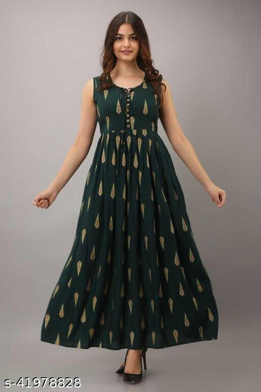 Green Sleeve Less Gown