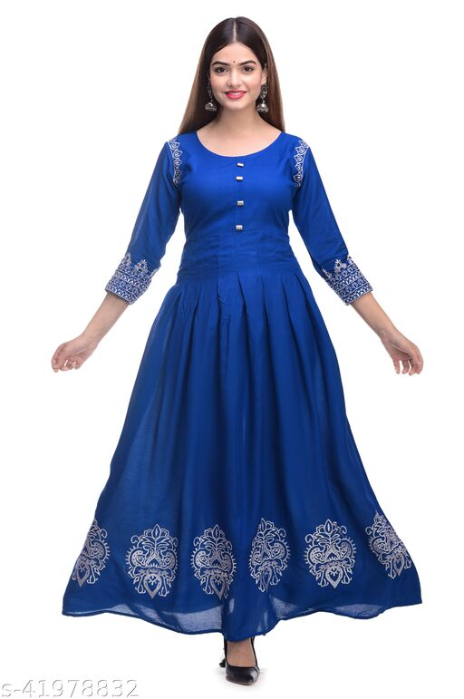 Blue Rayon 6 B Gown