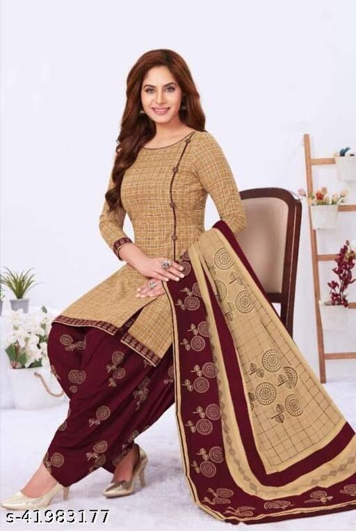 Dutt Textiles Same as In Image No different Printed  Color Brown Crepe Unstitched Salwar Suit/Kameez Dress Material For Womens & Girls All For Occation