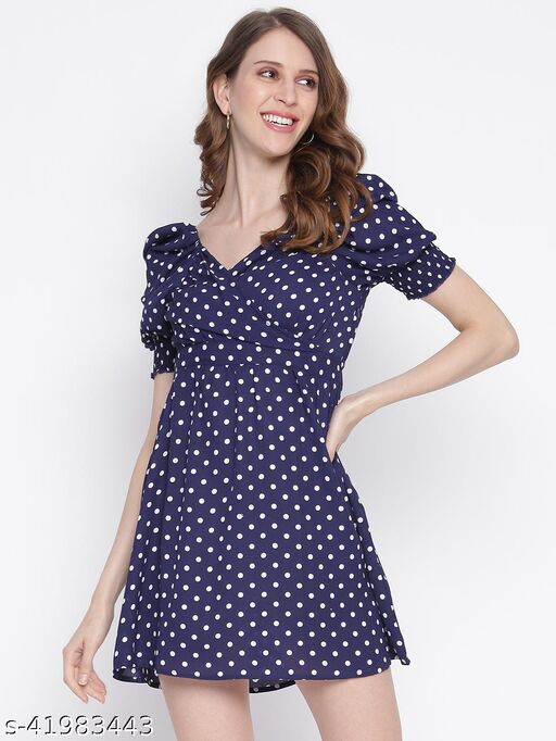 INIESTA Printed Fit and Flare Dress