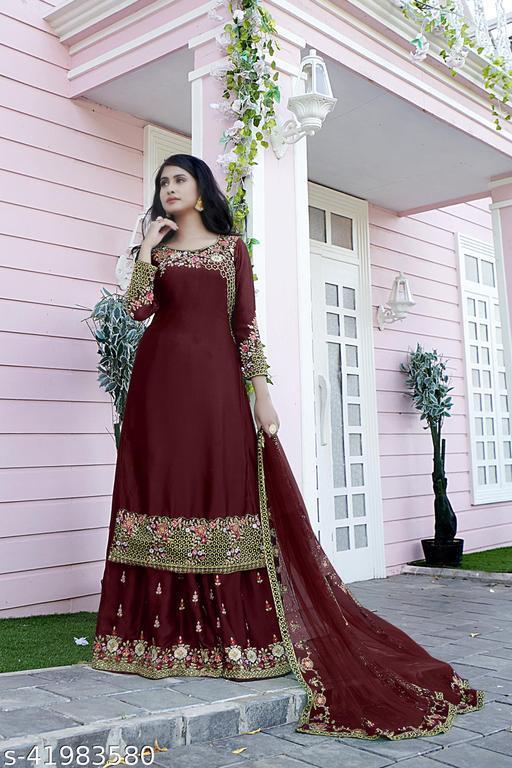 Women's Semi Stitched Sharara Suit With Dupatta