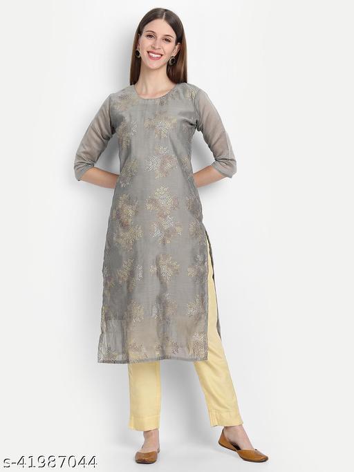 Sancom Women's Stylish Chanderi Silk Kurti.