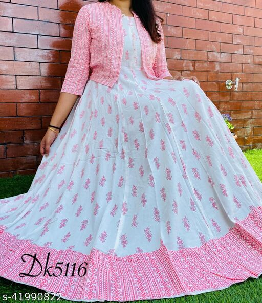 Women Pink long gown with printed jacket