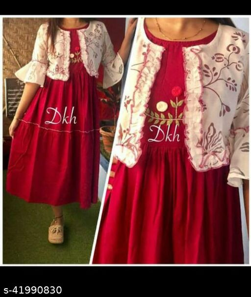 Rayon Emb Kurti With Jacket for women and girls