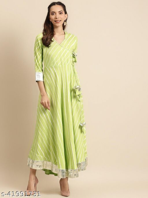 Rangmayee Women Green & White Leheriya Print Angrakha Anarkali Maxi gown