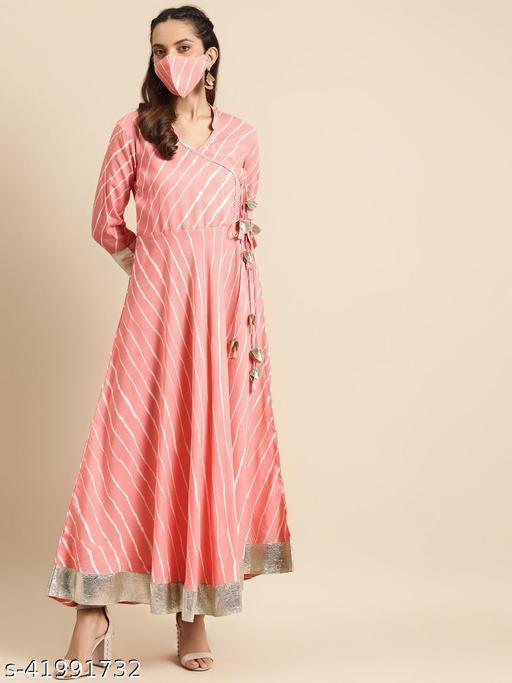 Rangmayee Women Pink & White Leheriya Print Angrakha Anarkali Maxi gown