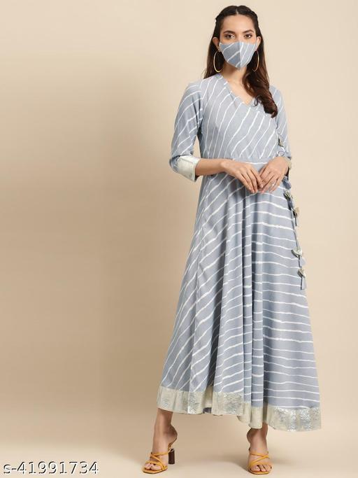 Rangmayee Women Grey & White Leheriya Print Angrakha Anarkali Maxi gown
