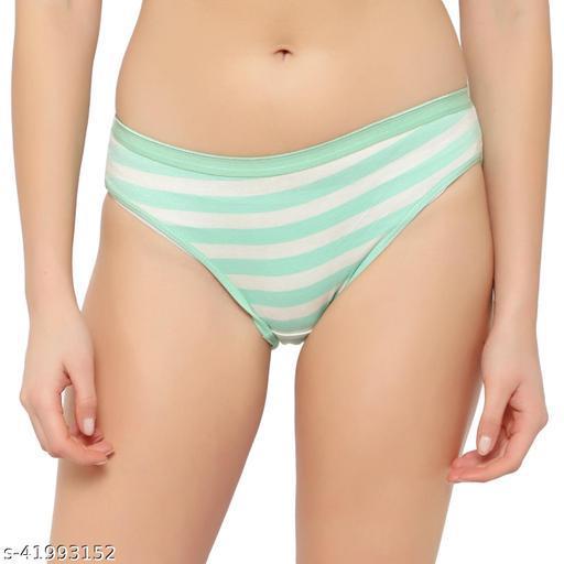 Women Bikini Green Cotton Blend Panty