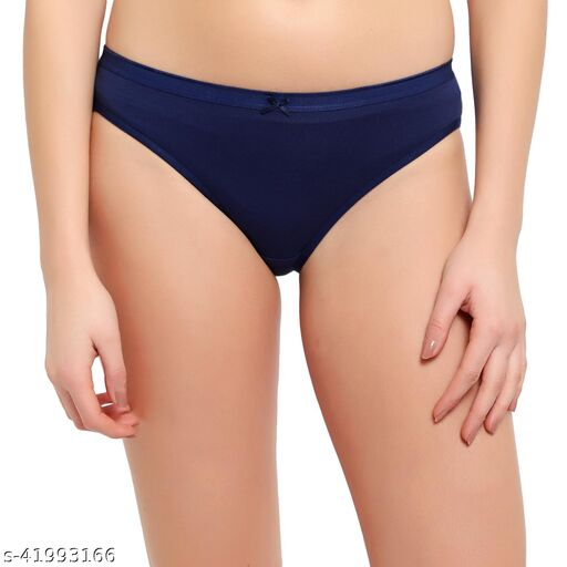 Women Bikini Navy Blue Cotton Blend Panty