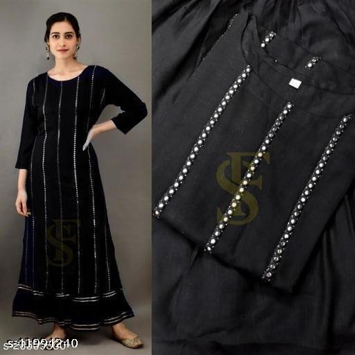 GCC Women's Solid Printed Rayon Zari Mirror Work A-Line Kurti With Sharara Set