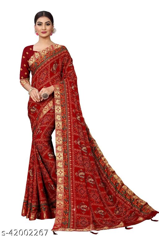 Women's Moss Silk Printed diamond work saree with zumka, zari border and blouse.