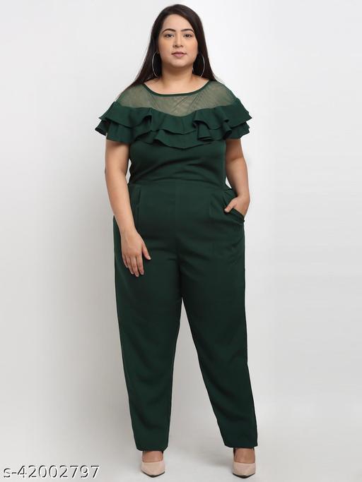Flambeur Women's Plus Size Casual Green Jumpsuit