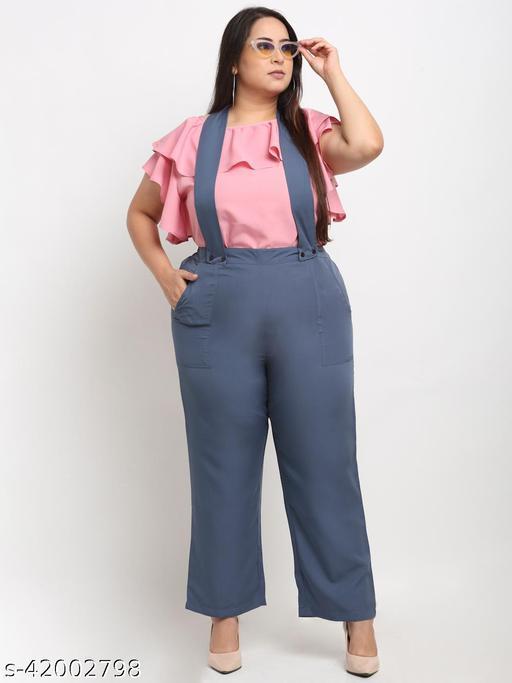 Flambeur Women's Plus Size Casual Pink Jumpsuit