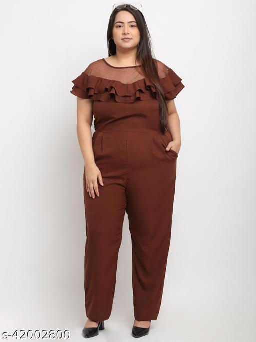 Flambeur Women's Plus Size Casual Brown Jumpsuit