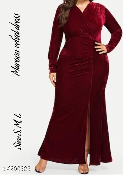Solid Maroon Maxi Velvet Dress