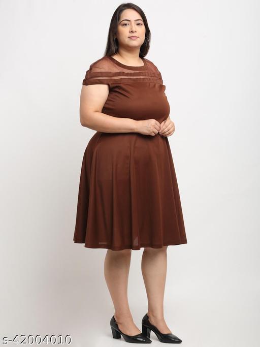 Flambeur Women's Plus Size Casual Brown Dress
