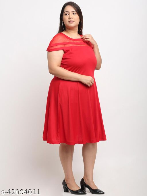 Flambeur Women's Plus Size Casual Red Dress
