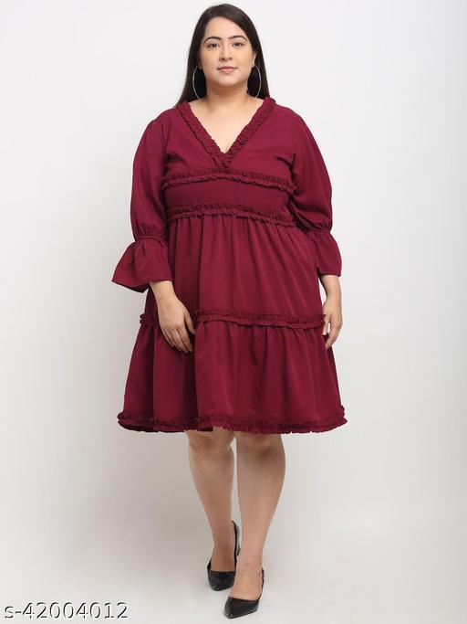 Flambeur Women's Plus Size Casual Maroon Dress