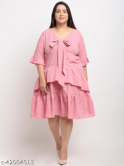 Flambeur Women's Plus Size Casual Pink Dress